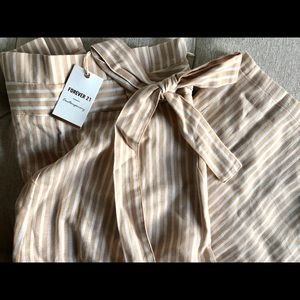 Striped Paperbag Culottes by Forever21
